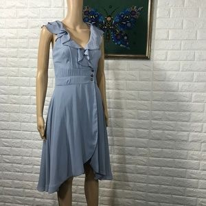 Anthropologie Quillarie Blue Wrap Dress Size 4